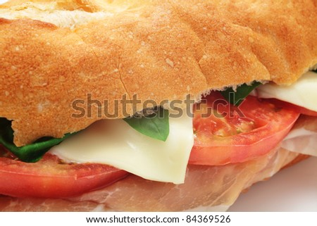 Sandwich with Ham, Tomato and Cheese