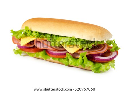 Sandwich with ham, tomato, cheese, onion and lettuce isolated on white background