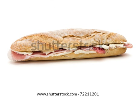 sandwich with mozzarella cheese and ham isolated on white background with clipping path - stock photo