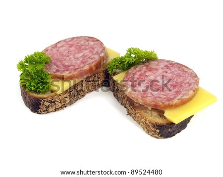 sandwich with salami on a white background
