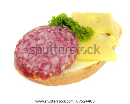 sandwich with salami on a white background - stock photo