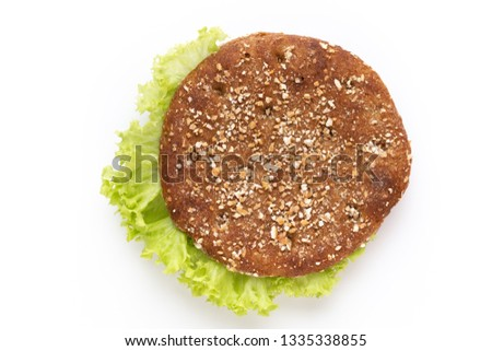 Sandwich with salami sausage on white background.  #1335338855