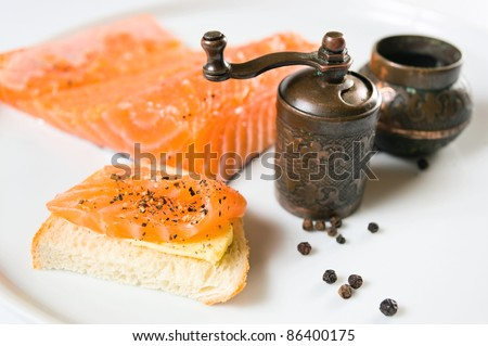 sandwich with salmon and old copper peppermill.