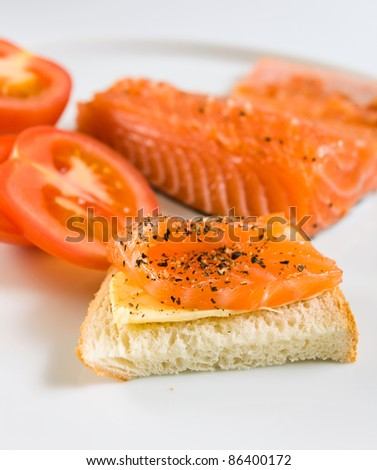 sandwich with salmon and tomato on a white plate.