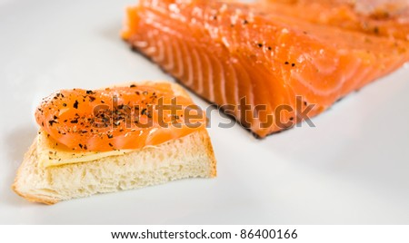 sandwich with salmon  on a white plate.