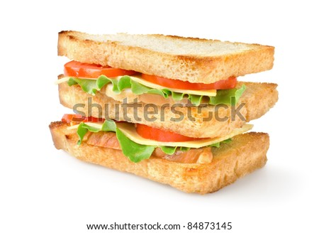 Sandwich with vegetables isolated on a white background