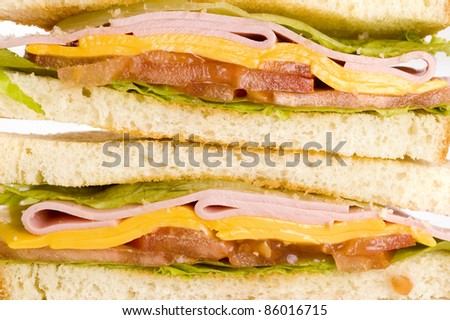sandwich with vegetables, meat and cheese close up
