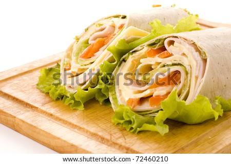 sandwich wrap with ham and paprika