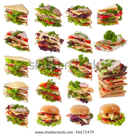 Sandwiches Collection isolated on white