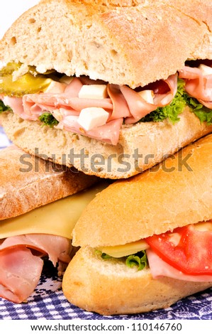 Sandwiches on the table