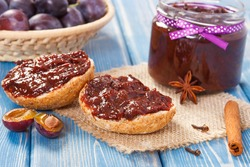 Sandwiches with plum marmalade or jam, concept of healthy sweet snack or dessert