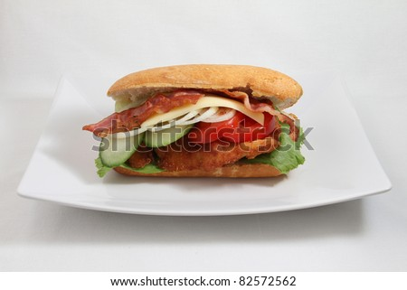 sandwitch on white plate isolated on white background