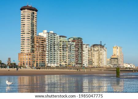 Sandy beach and skyline of Vlissingen city  Foto stock ©