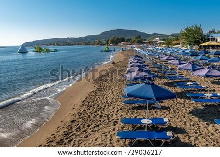 Sandy beach, Faliraki Rhodes, Greece