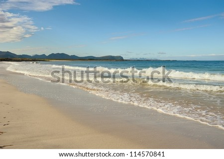 Sandy beach in the north of Norway - stock photo