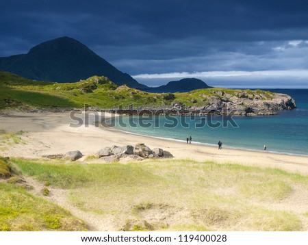 Sandy beach in the north of Norway