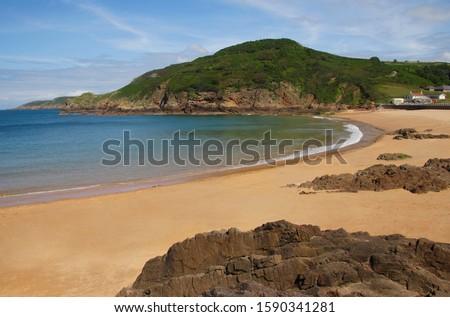 Sandy beach near La Greve de Lecq, North Coast of Jersey, Channel Islands, UK