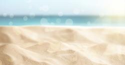 Sandy beach on sunny day, closeup. Banner design