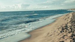 Sandy beach on the coast. panorama banner.