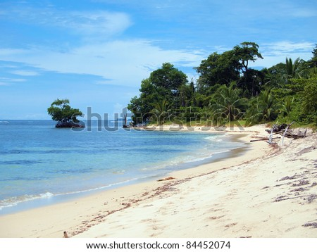 Sandy beach with a small mangrove islet and beautiful tropical vegetation, Zapatillas islands, Bocas del Toro, Caribbean sea, Panama