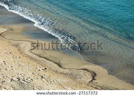 sandy coast of mediterranean sea