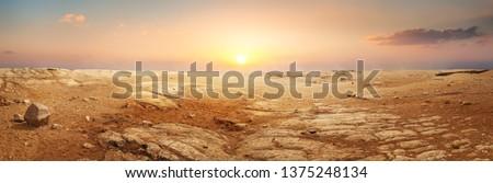 Sandy desert in Egypt at the sunset Foto stock ©