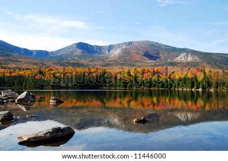 Sandy Stream Pond and North Basin in the fall, Baxter State Park, Northern Maine - stock photo