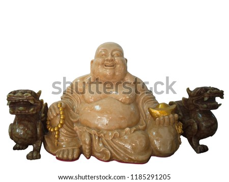 Sangkhia buddha statue besides with Chinese leo