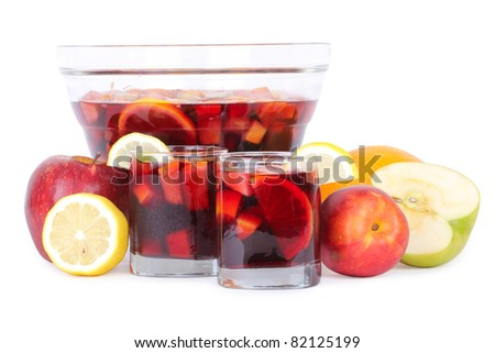Sangria in glass bowl, isolated on white
