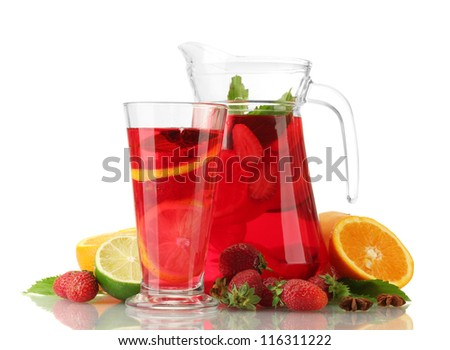 sangria in jar and glass with fruits, isolated on white