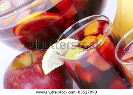 Sangria red wine with summer fruits