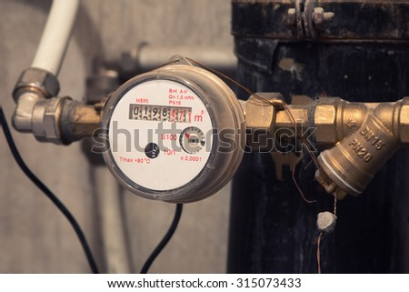 Sanitary equipment. water meter close up