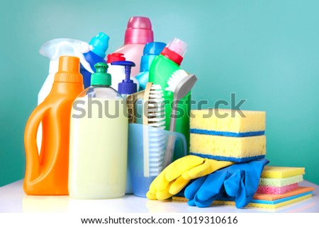 Sanitary household cleaning items,domestic supplies.Plastic bottles and sponges. #1019310616