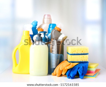 Sanitary household cleaning items,domestic supplies.Plastic bottles and sponges. #1172161585
