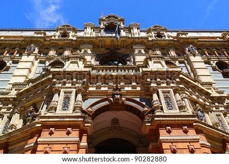 """Sanitary Works building (""""Edificio Obras Sanitarias""""), Buenos Aires, formerly known as """"Palacio de las Aguas Corrientes"""", is a magnificent baroque-style building n Buenos Aires. - stock photo"""
