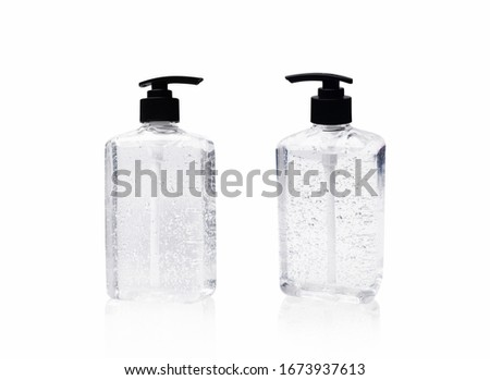sanitizer gel with clear Plastic bottle pump on white background.antiseptic hand gel or alcohol gel prevent the spread of germs and bacteria and avoid infections corona virus,covid19