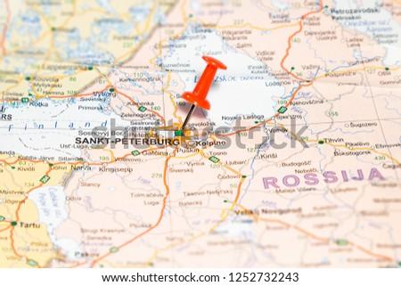 Sankt-Peterburg pinned on a map  of Europe #1252732243