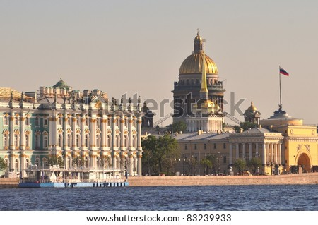 Sankt Petersburg most important landmarks: Hermitage, summer palace, St Isaac Cathedral and Admiralty - stock photo