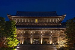 Sanmon Gate of Chion-in temple which lighted up in Kyoto, Japan (translation of the gate: Kachozan temple)