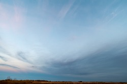 Sanset Sky with colorful clouds, without birds, clear and worm evening, Sunrise Sundown evening time