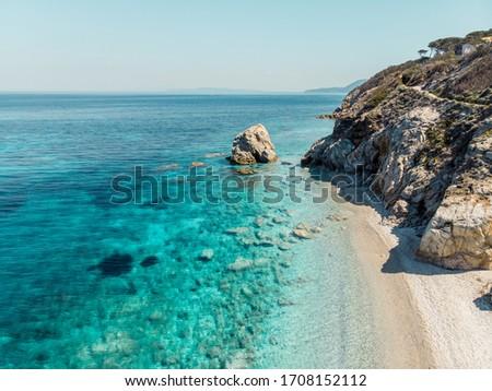 sansone beach elba island drone Foto stock ©
