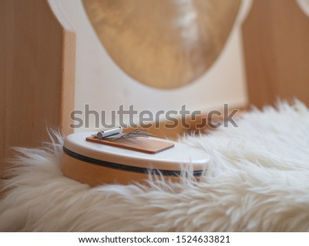 Sansula sound healing instrument for relaxing and calming ceremony