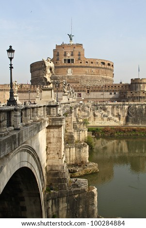 Sant' Angelo Bridge and Sant' Angelo Castel in Rome, Italy.