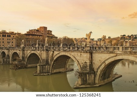 Sant'Angelo Bridge at sunset, Rome, Italy