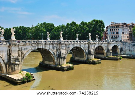 Sant'Angelo's Bridge Rome, Italy - stock photo