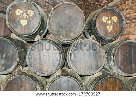 Sant Sadurni d\'Anoia, Spain - February 23, 2014: Old Wine barrels in the Codorniu winery. Codorniu winery is located in Sant Sadurni d\'Anoia near Barcelona, Spain.