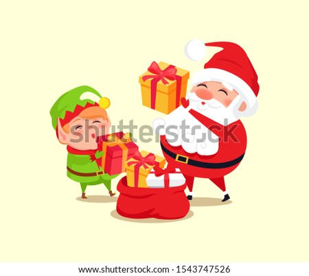 Santa and elf cartoon characters put presents into big red sack raster illustration isolated on white. Father Christmas and little helper going to present gifts
