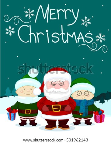 Santa and friends two elf gift marry christmas card