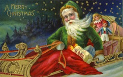 Santa and His Sleigh - an early 1900s vintage greeting card illustration.