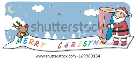 Santa and Rudolph draw a large Merry Christmas banner.